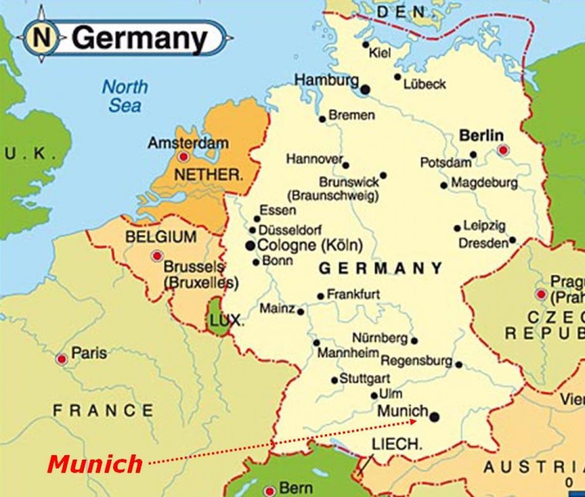 Munchen Kaart Europa Kaart Van Munchen Europa Beieren Duitsland